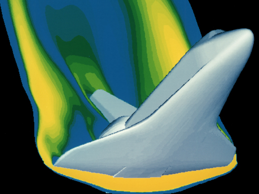 CFD analysis performed on NASA Space Shuttle re-entry