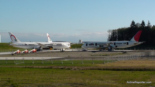Two Royal Air Maroc and one JAL Boeing 787 Dreamliner parked next to the Future of Flight Museum (David Parker Brown/airlinereporter.com)