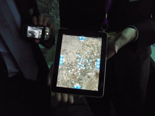 A mapping application being run on an Apple iPad