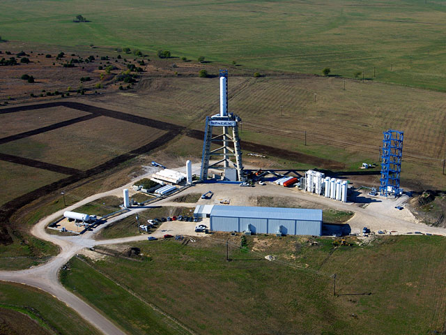 View of the large test stand, part of SpaceXs rocket development facilities in McGregor, Texas.