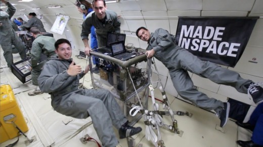 Made In Space testing their 3D printer in microgravity.