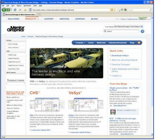 Mentor.com redesign electrical interconnect and harness systems web content