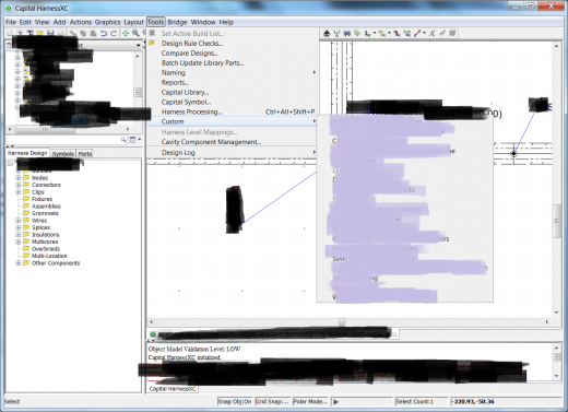 Custom actions and reports and DRC's in Harness XC private to a customer have been censored in this picture.