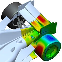 Reaction forces on a rear-wing of an Indy race car. Image courtesy of Voxdale.