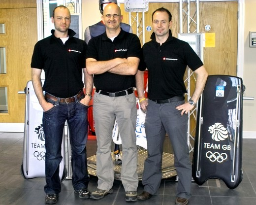 From left to right: Dan Fleetcroft – Design Director, Mike Maddock – COO and Kristan Bromley – CEO and 2008 World Champion. Kristan is standing next to his 2010 Olympics sled and you can just about see Shelley's sled behind Dan. Each sled is optimized for the athlete (as you can see from the subtle shape differences between the two shown here but there's a lot more than meets the eye). Image courtesy of Mentor Graphics.