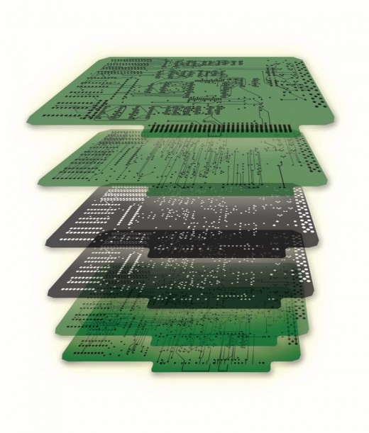 Copper distribution on a 6 layer PCB. Image courtesy of Mentor Graphics.