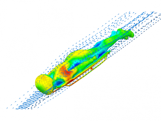 CFD analysis on a bobskeleton. Image courtesy of Bromely Technologies and Mentor Graphics. 