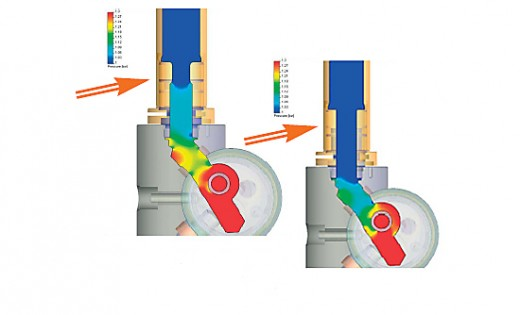 The pressure drop (right image) was reduced after the model was revised. Image courtesy of Grohe and Mentor Grpahics.