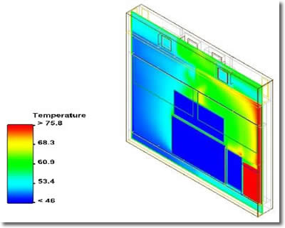 Simulation saves Solectron 3 months and $40,000 in cooling outdoor antenna. Image courtesy of Solectron.