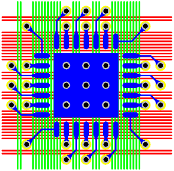 Figure 15 - 0.65 mm Pitch QFN Via Fanout & Routing Solution